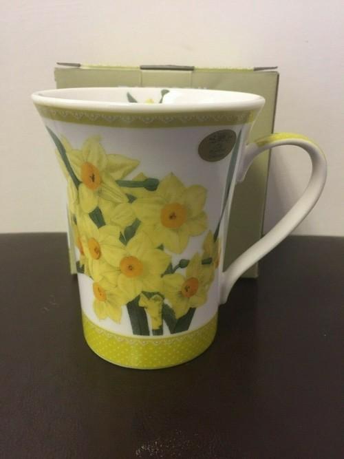 BNIB YELLOW FLOWER MUG Flowers of Wales Daffodil Mug Made from Fine CHINA