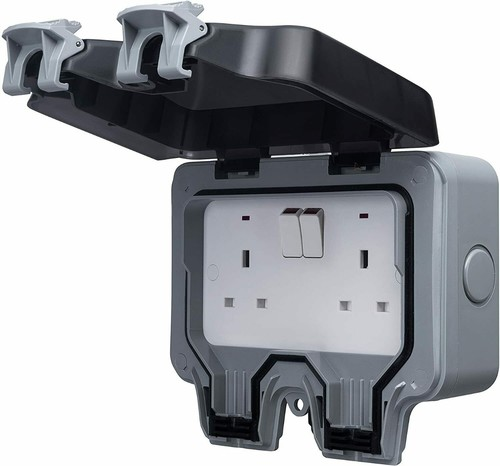 Masterplug Weatherproof Double Switch Twin Socket W Rcd