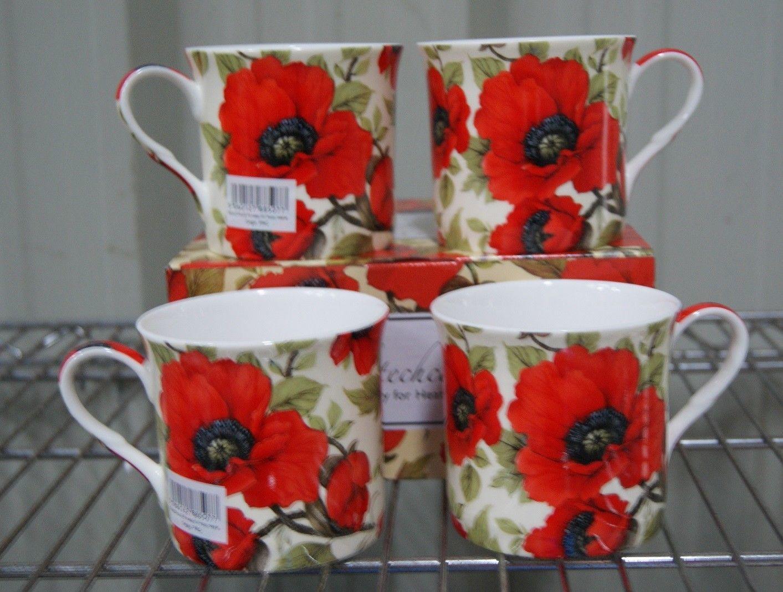 2 X Sabichi Poppy Bouquet Oversized New Bone China Mug